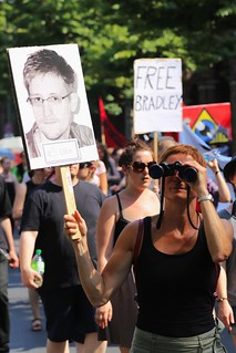 From http://www.flickr.com/photos/11415654@N05/9381054729/: Like Edward Snowden - Stop Watching Us, Berlin, 27.07.2013