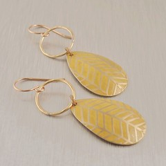 Drop Earrings in Brass and Yellow Herringbone (copperheart) Tags: etched yellow metal handmade jewelry earrings brass