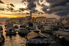 Rovinj (Istria, Croatia) fishing harbour at dusk. (po.fortin) Tags: travel sunset sea sun church clouds port boat town fishing village harbour dusk croatia rovinj istria croatie hvratska istrie