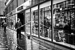 In and out cleaner (tootdood) Tags: street blackandwhite window out manchester market cleaner suds monovember
