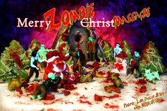 Merry ZOMBIE ChristMassacre (Lon Casler Bixby) Tags: santa christmas food macro toys miniature blood funny zombie humor gingerbread mini glowinthedark brains horror santaclaus bloody gingerbreadhouse zombies happyholidays merrychristmas edible tabletop frosting gingerbreadman hohoho neoichi loncaslerbixby