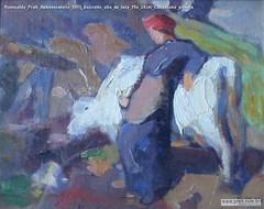 Romualdo Prati Abbeveratorio 1911 bozzetto olio su tela 19x 24cm Collezione privata