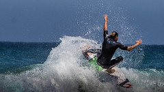 Surfer Hands Up (BradonMcCaughey) Tags: sea summer sky beach water surf waves surfer surfing surfboard