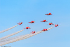 The Red Arrows (alan-evans) Tags: england unitedkingdom aviation duxford redarrows eighth imperialwarmuseum displayteams 2013 springairshow baehawkt1a rememberingthemighty
