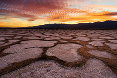 Death Valley's Fiery Furnace (Jim Patterson Photography) Tags: california travel sunset nature landscape outdoors photography nationalpark desert unique deathvalley redsky geology fierysky inyocounty saltpatterns mudpatterns jimpattersonphotography jimpattersonphotographycom seatosummitworkshops seatosummitworkshopscom