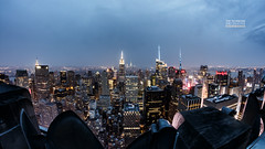 New York, New York (steffen.goldenstein) Tags: nyc newyorkcity panorama usa newyork skyline night america skyscraper high nacht rockefellercenter aerial fromabove fisheye empirestatebuilding amerika 8mm manhatten bigapple topoftherock wolkenkratzer hoch