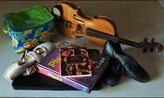 Arts Student's Life #ABusyDay #FlickrFriday (FoxInTheWoods) Tags: ballet music dance student theater laptop arts violin script capezio textbooks anneofgreengables tapshoes lunchbag pointeshoes danceshoes toeshoes bloch flickrfriday anneshirley paulhewitt lmmontgomery abusyday bakersplays conceptualphysics teletones sylviaashby