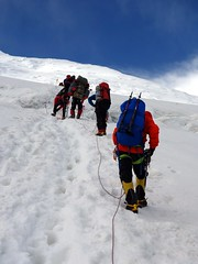 """Pausing to cross a crevasse • <a style=""""font-size:0.8em;"""" href=""""http://www.flickr.com/photos/41849531@N04/20459674471/"""" target=""""_blank"""">View on Flickr</a>"""