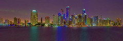 View of the skyline of Miami, Florida, USA from across Biscayne Bay (Jorge Marco Molina) Tags: miami florida usa cityscape city urban downtown density skyline skyscraper building highrise architecture centralbusinessdistrict miamidadecounty southflorida biscaynebay cosmopolitan metropolis metropolitan metro commercialproperty sunshinestate realestate tallbuilding midtownmiami commercialdistrict commercialoffice wynwoodedgewater residentialcondominium dodgeisland brickellkey miamibeach southbeach sobe panoramic longexposure