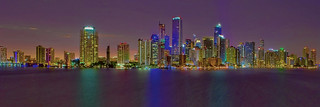 View of the skyline of Miami, Florida, USA from across Biscayne Bay