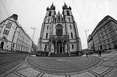Church of Saint Anthony of Padua Prague - Samyang 8mm f2,8 UMC FISH EYE II (petrwag) Tags: samyang street bw blackandwhite blancoynegro blackwhite prague praha photographing manuallens fisheye