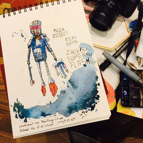 A robot sketched by my boy and I colored it. A father and son collaboration. #fatherandson #watercolor #doodle