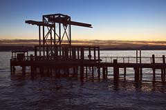 Seattle Sunset Dock (matthewkaz) Tags: seattle sunset sky clouds olympics olympicmountains dock pier water elliottbay bay pugetsound silhouette reflections reflection city downtown washington 2017