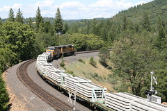 Union Pacific Tie Train in Colfax, CA (CaliforniaRailfan101 Photography) Tags: up amtrak unionpacific priority ge freight bnsf reefer manifest emd californiazephyr burlingtonnorthernsantafe dash9 dpu es44dc gevo sd70m amtk c449w stacktrain sd70ace es44ac colfaxca c45accte p42dc trackagerights es44c4 tietrain sd59mx unitreefer zdlsk trainsincolfaxca