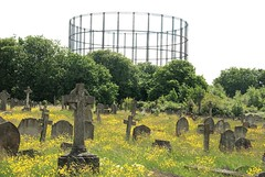 Gravestones and gasometer, Kensal Green Cemetery, London, W10, 27th May 2013 (joelmeadows1) Tags: london cemetery moody victorian