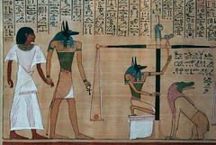 Hunefer's Book of the Dead, detail with Hunefer and Anubis