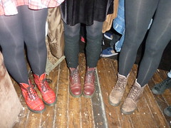 DOC MARTENS at dirty green vinyl gig. (huddsfilm1) Tags: girls red blood legs tights ox doc soles bouncing martens dms tarten