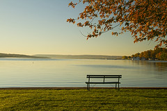 Lake Life (Matt Champlin) Tags: autumn fall nature canon bench outdoors still sitting quiet peace village peaceful calm foliage sit upstatenewyork fingerlakes tranquil thegoodlife skaneateleslake skaneateles 2013