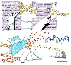 A Break In The Bricks (inklines) Tags: art illustration comics stars sketch drawing magic bricks cartoon shoppingcart sketchbook angels comix psychedelic psychedelia penandink michaelarthur uploaded:by=flickrmobile flickriosapp:filter=nofilter