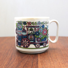 Flower Train. (Kultur*) Tags: flowers cup floral train vintage retro kawaii mug 70s locomotive 1970s vintagehousewares