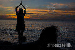 Yoga poses on the beach with the sun setting in the background (Arno Enzerink) Tags: sunset woman beach silhouette yoga lady female person one alone body being philippines silhouettes move health human single balance camiguin strength spiritual stable balanced position movements physical mental mambajao exercize