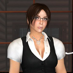 The New Profile Pic (alexandriabrangwin) Tags: woman alexandria smart shirt modern computer corporate glasses necklace 3d graphics suit secondlife virtual vest executive cgi updo brangwin alexandriabrangwin