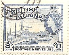 British Guiana stamp: sugar cane (sftrajan) Tags: southamerica colonial stamp timbre postagestamp philately sello briefmarke  britishguiana    vision:text=0697 vision:outdoor=0973