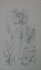 Eugenio Prati Donna 1902 litografia per cartolina Collezione privata