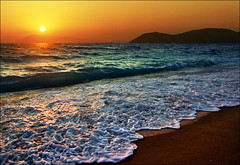 All the colors of the sunset (Katarina 2353) Tags: desktop trip travel blue light sunset shadow sea summer wallpaper vacation orange sun holiday seascape mountains color reflection film beach nature water beautiful lands