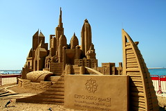 A City in Sand: Dubai (Gee 2 Gray) Tags: ocean sculpture beach water skyline marina persian sand dubai gulf expo palm khalifa arab thewalk sandsculpture jumeira sandart burj 2020 jbr jumera