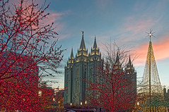 Christmas on Temple Square (ssfor27) Tags: christmas city winter sunset lake square temple lights utah dusk salt