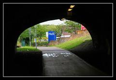 Hell (K-Burn) Tags: abandoned sign underground lights edinburgh path hell tunnel tesco portal lit dismantledrailway rodneystreettunnel edinburghleithandnewhavenrailway herriothilltunnel