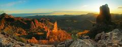 The Glory of the Warrumbungles (Darren Schiller) Tags: panorama mountains nature sunrise landscape rocks newsouthwales warrumbungles breadknife belougeryspire