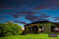 Pembrey Mountains (seankirkhousephotography) Tags: light building green night clouds painting stars low