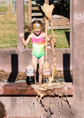 Thekla's 4th of July Science II: Electric Boogaloo (evilpeacock) Tags: girl happy explosion experiment coke science mentos fourthofjuly sixyearold theklalovely