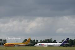 DHL A330 & FedEx A330 at Dublin (Irish Transport Pictures) Tags: dublin airport airbus ba boeing 777 dub a330 767 737 airfield a320 dublinairport 787 airbusa320 boeing737 dreamliner eidw