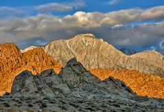 Sunrise Layers at Alabama Hills (Dave Toussaint (www.photographersnature.com)) Tags: california travel sky usa nature june rock photoshop canon landscape photo day skies photographer cloudy picture clarity adobe geology lonepine 2009 infocus easternsierra alabamahills cs6 notherncalifornia 40d topazlabs topazadjust topazdenoise photographersnaturecom davetoussaint