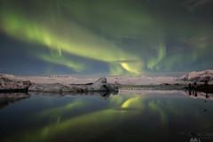 Northern Lights at Jökulsárlón Lagoon (Sophie Carr Photography) Tags: northernlights auroraborealis jokulsarlon nightphotography reflection symmetry iceland