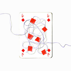 six of diamonds (brescia, italy) (bloodybee) Tags: 365project playingcards cards play game 6 six diamond sewing thread needle stitch stilllife white red square