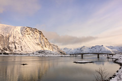 Everything is connected and everything matters (OR_U) Tags: 2017 oru norway lofoten gimsøya e10 bridge mountains sea reflection sunset snow winter ice