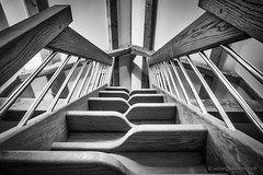 Symetrical Sleeping Stairs (Jocke Selin) Tags: stairs celiing contrast steps abstract bannister blackandwhite loft woodgrain