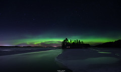 Aurora Borealis. (laurilehtophotography) Tags: auroras auroraborealis northernlights nature landscape view wideangle nikon d3100 sigma 1020mm f35 longexposure highiso reflections water lake snow ice island cottage star starry sky taivast tähtitaivas revontulet maisema yö kevät spring night suomi finland jyväskylä leppälahti countryside nightphotography landscapephotography instagram laurilehtophotography