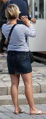 171 (SadCire) Tags: woman frau femme mujer girl thigh blonde calves feet legs miniskirt minidress skirt street candid sexy denim jeans shorthair