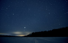 Skiing to Venus (Kojaniemi) Tags: skitracks kimmoojaniemi longexposure sky ice lake icecover forest woods winter venus planet stars starrysky night nightphotography
