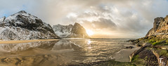 Tema Foto Lofoten tur Kvalvika HDR Panorama (Tor Magnus Anfinsen) Tags: kvalvika lofoten norge norway sand sun water reflection