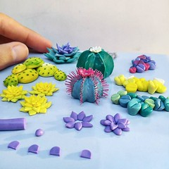 Sculpting various cacti and succulents (also lithops!) from polymer clay. 😊🌵🌱 My cold is finally almost over too! Yay! Hope you're having a fun weekend 😊💙