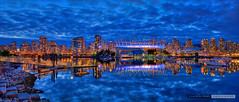 False Creek Reflections (Clayton Perry Photoworks) Tags: panorama skyline night vancouver clouds reflections lights hdr bcplace