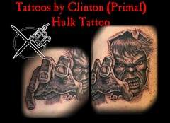 Hulk (primalculture) Tags: portrait muscles tattoo comic cartoon rage angry hulk greenman blackandgrey