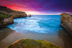 Tunnel Beach (James.McGregor) Tags: sunset seascape art love beach beautiful beauty sunrise wonderful magazine landscape dawn james photo amazing twilight long exposure paradise colours slow natural dusk tunnel cover dunedin feature wonders mcgregor
