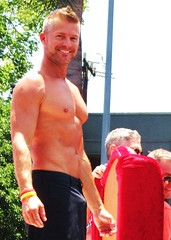 LA PrideSun 109 (2) (danimaniacs) Tags: gay shirtless man hot sexy guy smile pecs beard la losangeles chest hunk pride parade float bulge 2013 lapridesun